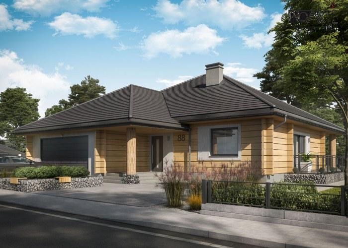 Projekt domu w technologii z bali drewnianych, ALEXANDRIA dach kopertowy i podwójny garaż